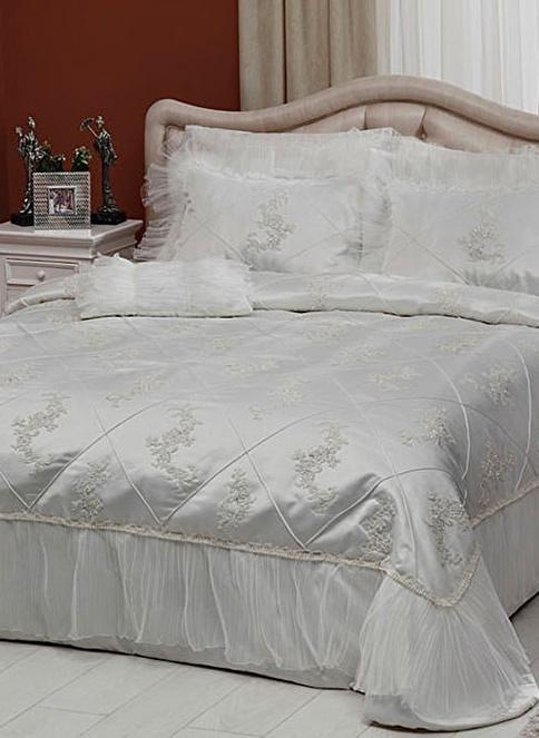 TAÇ Çift Kişilik Yatak Örtüsü Beyaz